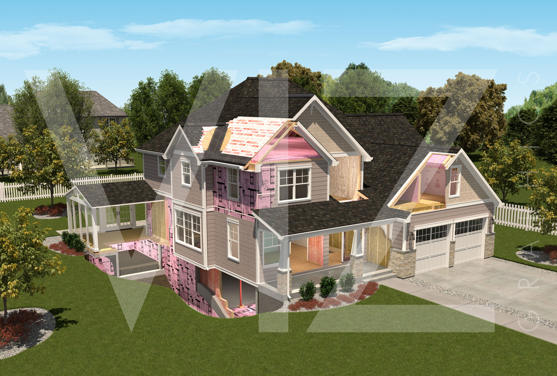 Owens-Corning-Insulation_Roofing-House-Cutaway-Rendering