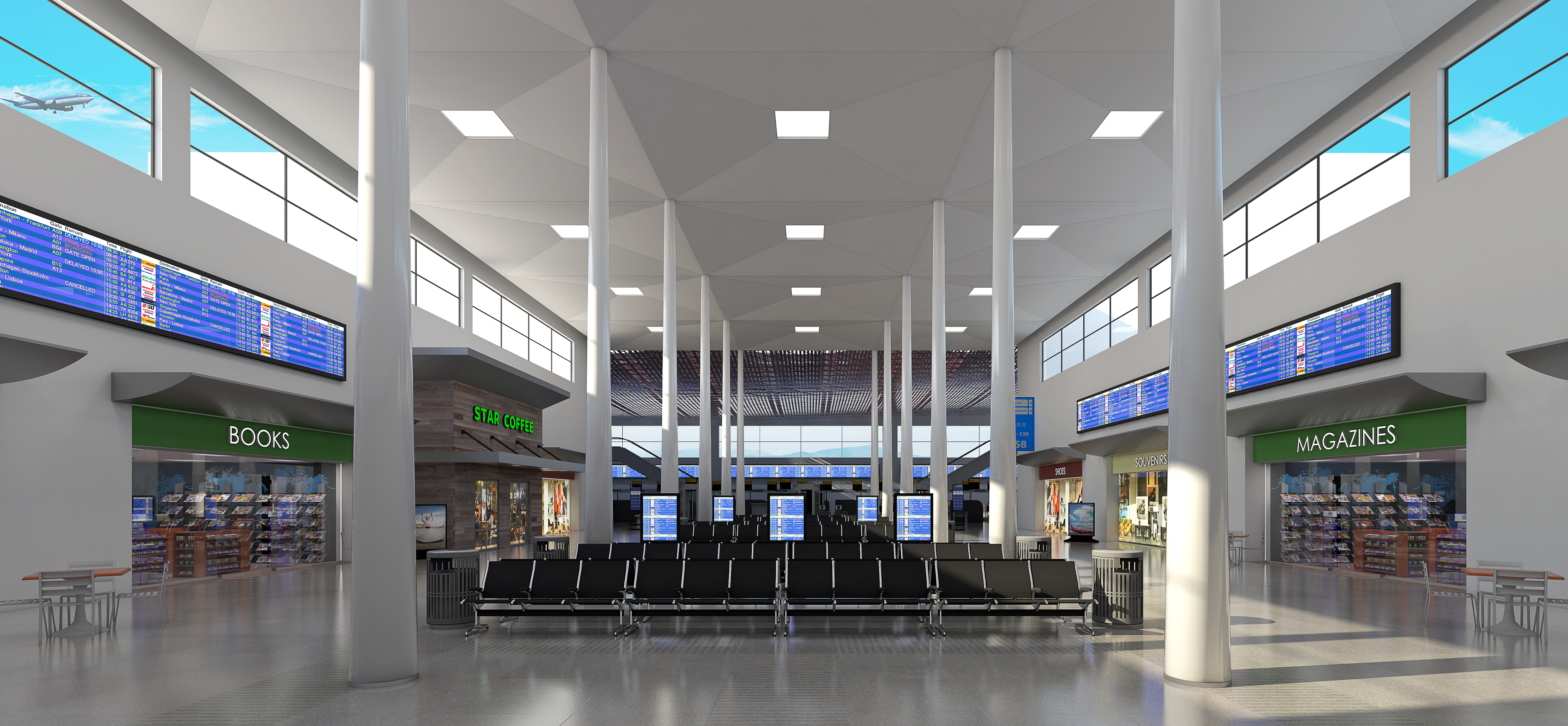 Airport Interior Rendering · Contemporary Reception Rendering ·  Architectural Office Lighting Render