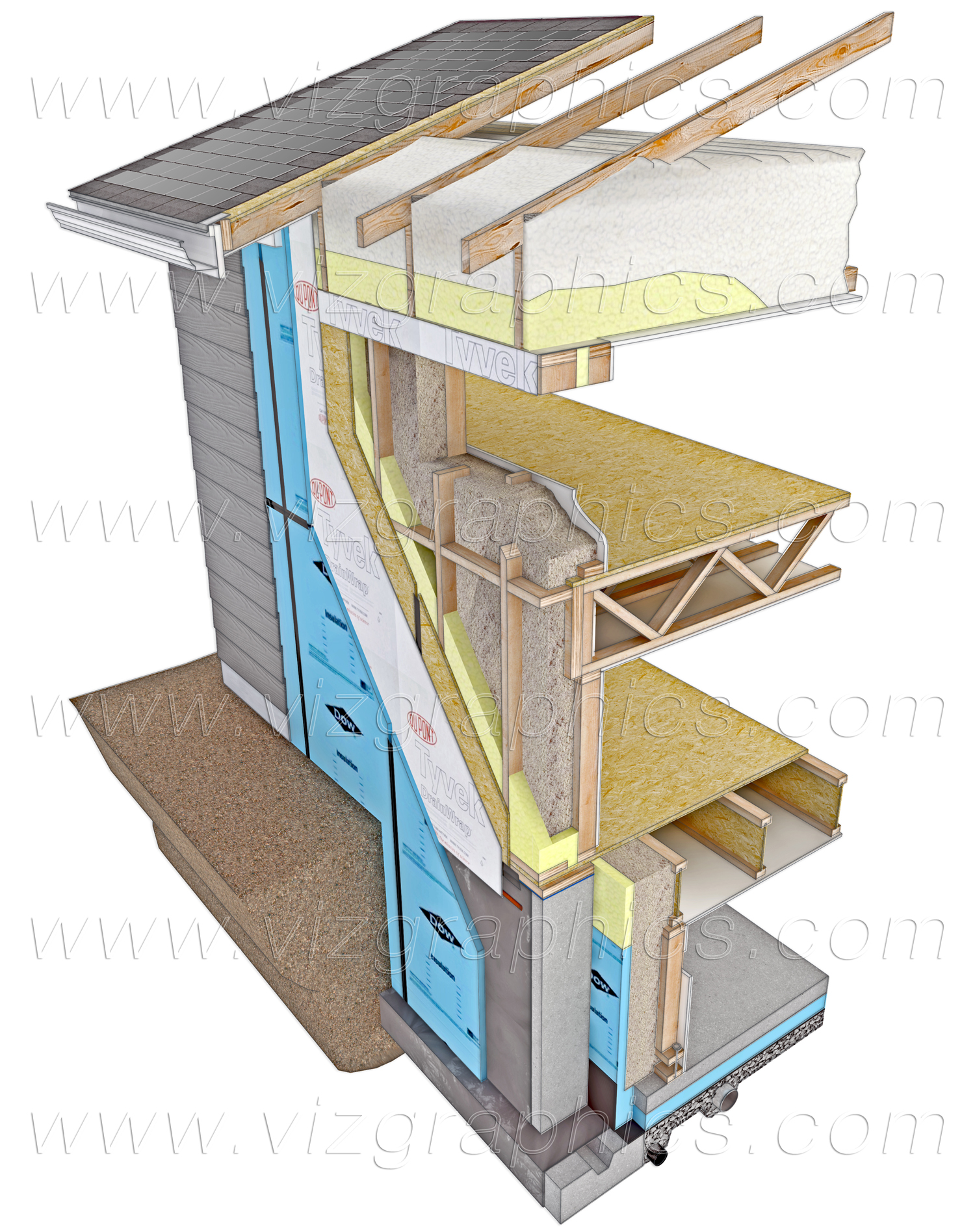 Passive Solar Wall Section Cutaway Rendering Wm