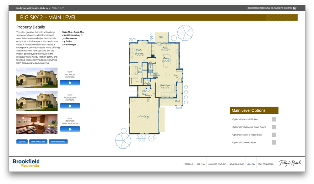 Interactive sales center viz graphics for Interactive house plans