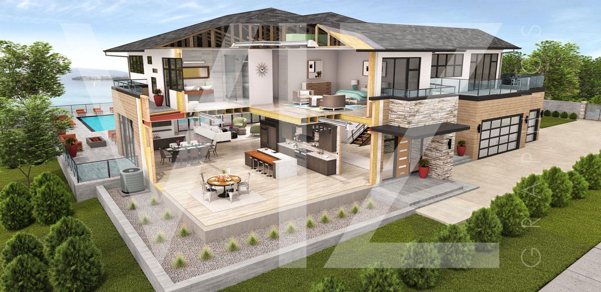 Modern House Cutaway Rendering
